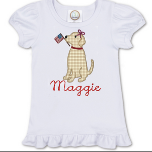 Girl Patriotic Dog Shirt