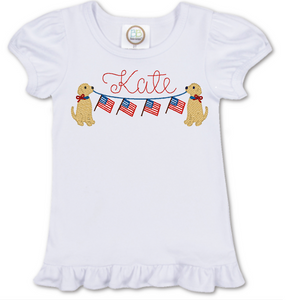 Girl Dog with Flag Banner Shirt