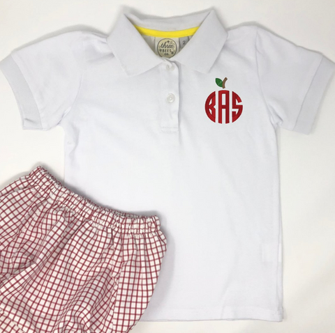 Circle Apple Monogram Boys Polo
