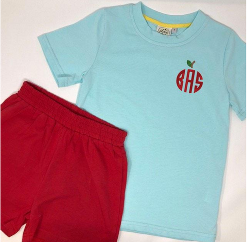 Circle Apple Monogram Boys Aqua Tshirt