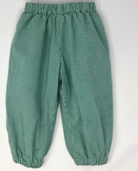 Gingham Fabric Banded Pant