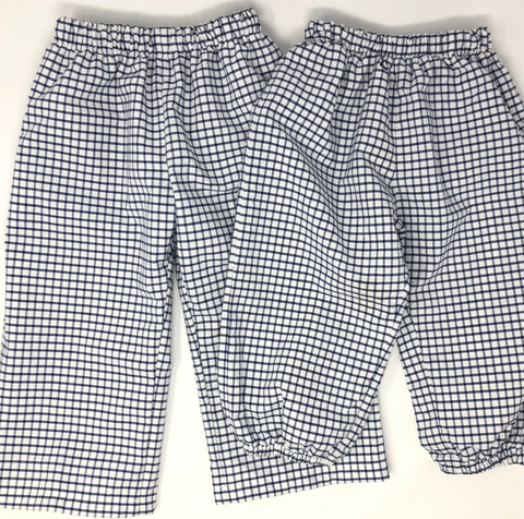 Boy Windowpane Fabric Banded Pants