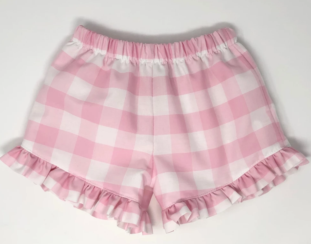 Buffalo Plaid Girl Ruffle Shorts (Multiple Colors)