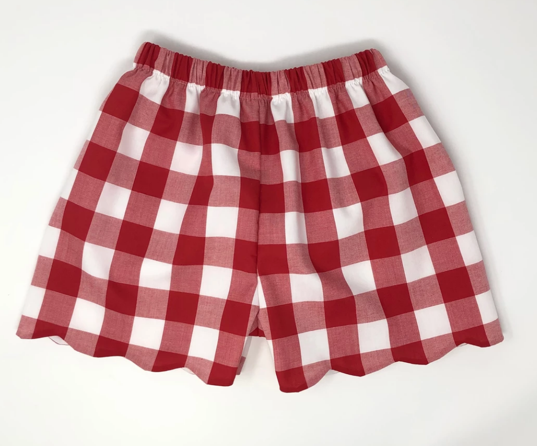 Buffalo Plaid Girl Scallop Shorts (Multiple Colors)