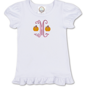 Girl Single Initial Monogram Pumpkin Shirt