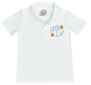 Boy Circle Initial Pumpkin Polo