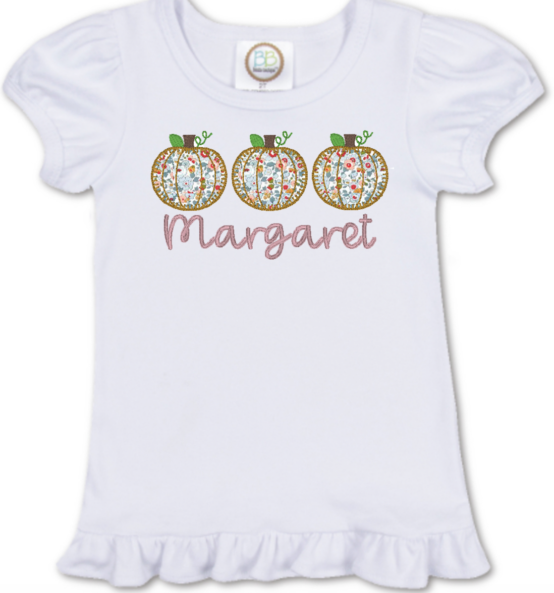 Girl Applique Pumpkin Trio Shirt