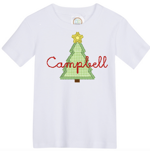 Boys Christmas Tree Applique