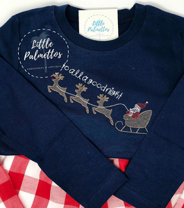 Boys To All a Good Night Shirt on Navy