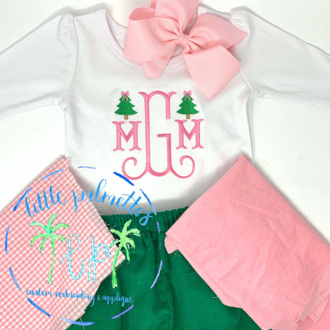 Girl Initial with Tree Minis Shirt