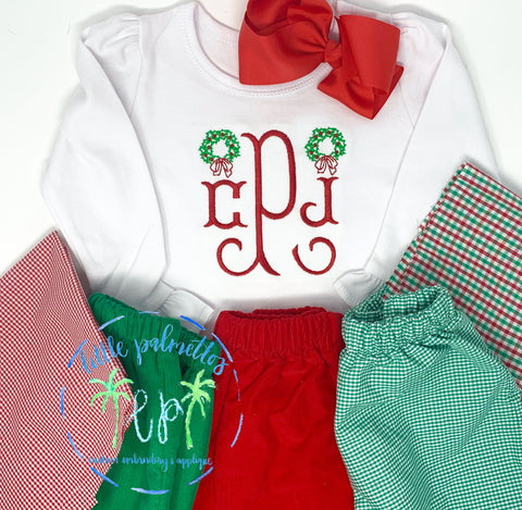 Girl Wreath with Initials Shirt