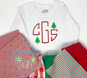 Boy Christmas Tree Initial shirt