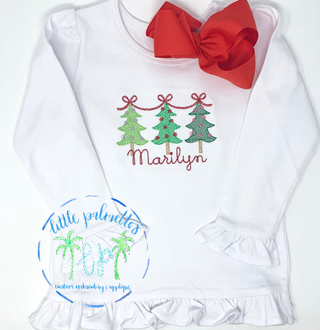 Girl Christmas Tree Trio with Ribbon Shirt