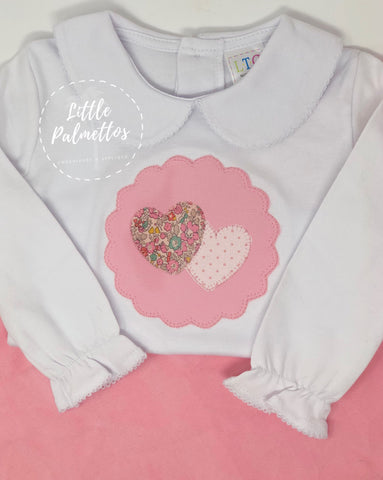 Girls Long Sleeve Valentine's Scalloped Heats Applique