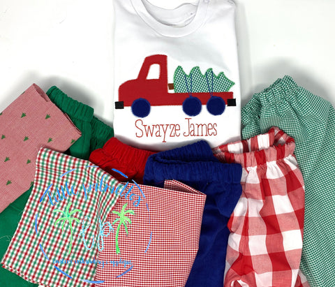 Boys Christmas Tree Truck Shirt