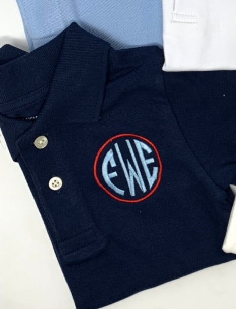 Circle with Monogram Collared Shirt (white shirt unless otherwise stated)