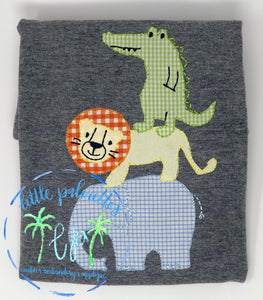 Stacked Animal Applique Shirt (white shirt unless otherwise stated)