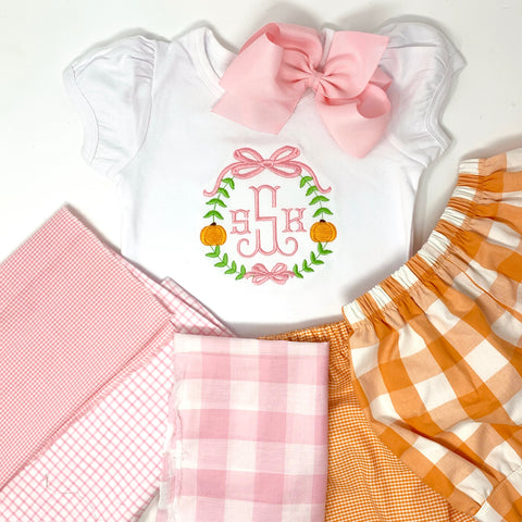 Girl Pumpkin Bow Frame Shirt
