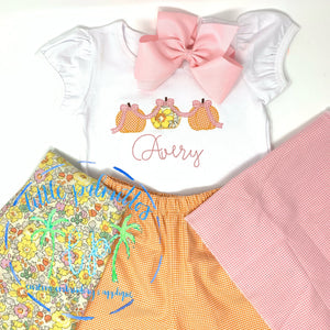 Girl Pumpkin Trio Applique with Bow Shirt