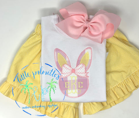 Girl Bunny Head with Bow Applique