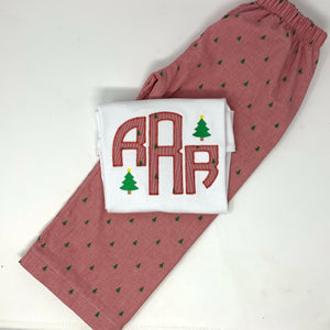 Boys Christmas Tree Initial Applique Shirt