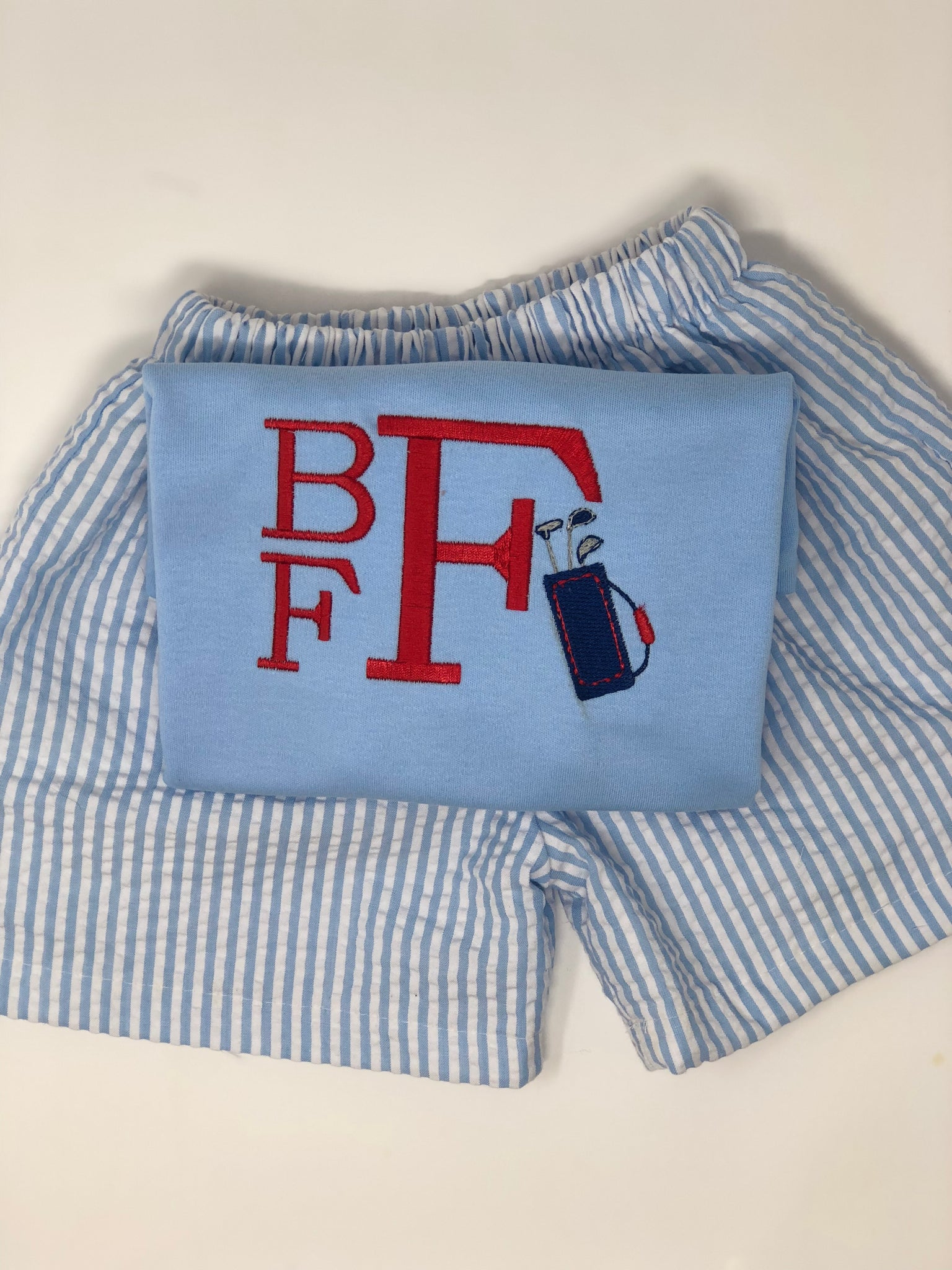 Golf Bag Initial Shirt on light blue