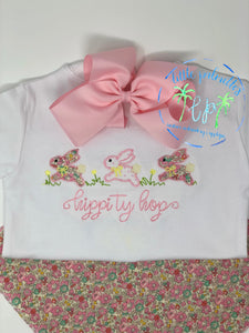 Girl Bunny Hop Applique Shirt
