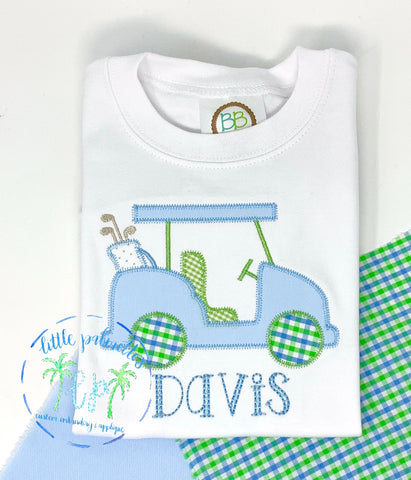 Boys Golf Cart Applique shirt