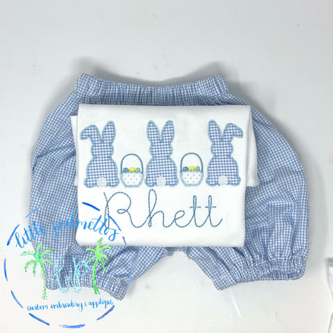 Boy Bunny Easter Basket Trio Applique Shirt
