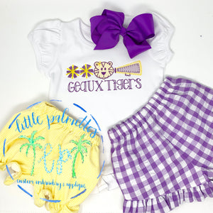 Girl LSU Applique Trio Shirt