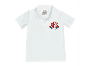 Boy Red, White, and Blue Collared Shirt