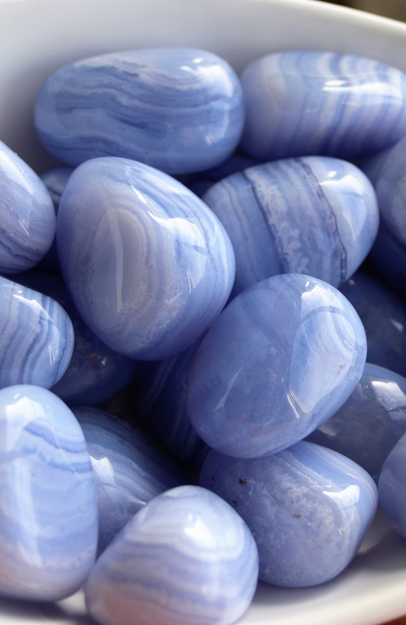 Blue Lace Agate Tumbled Stone