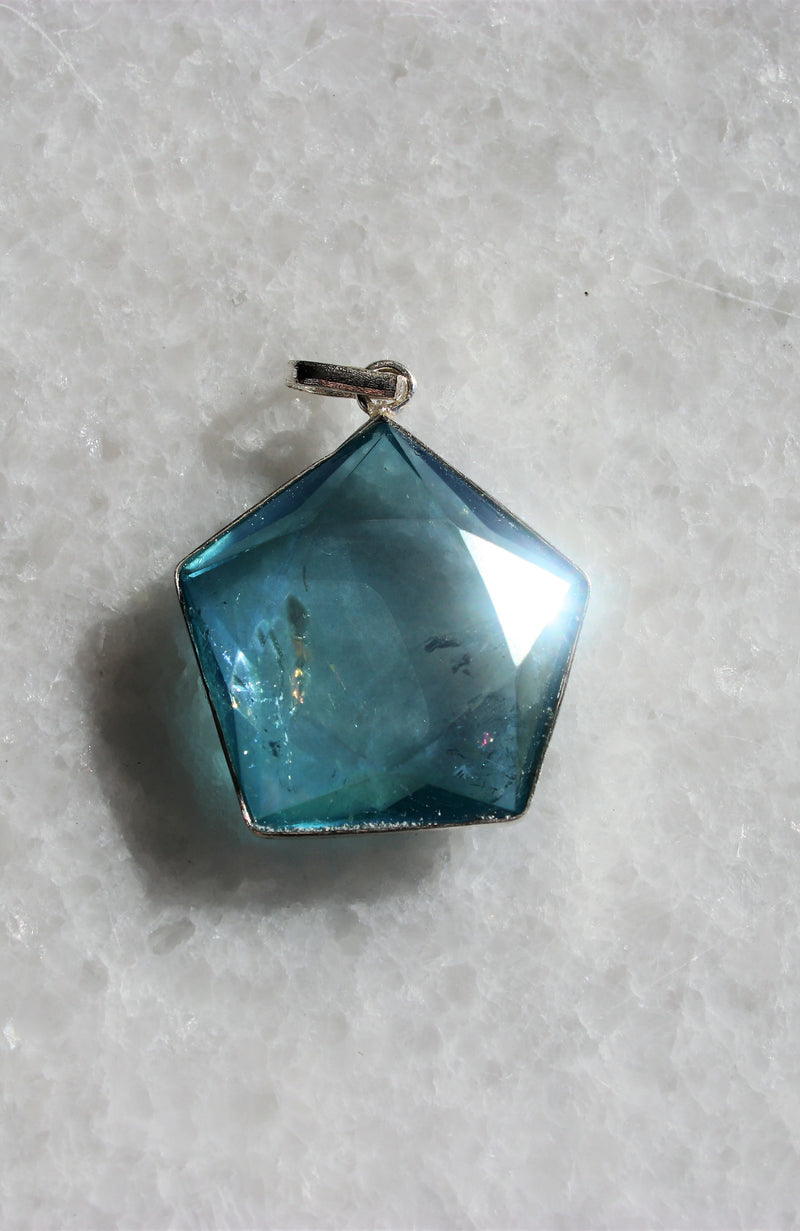 Aqua Aura Hexagon Pendant
