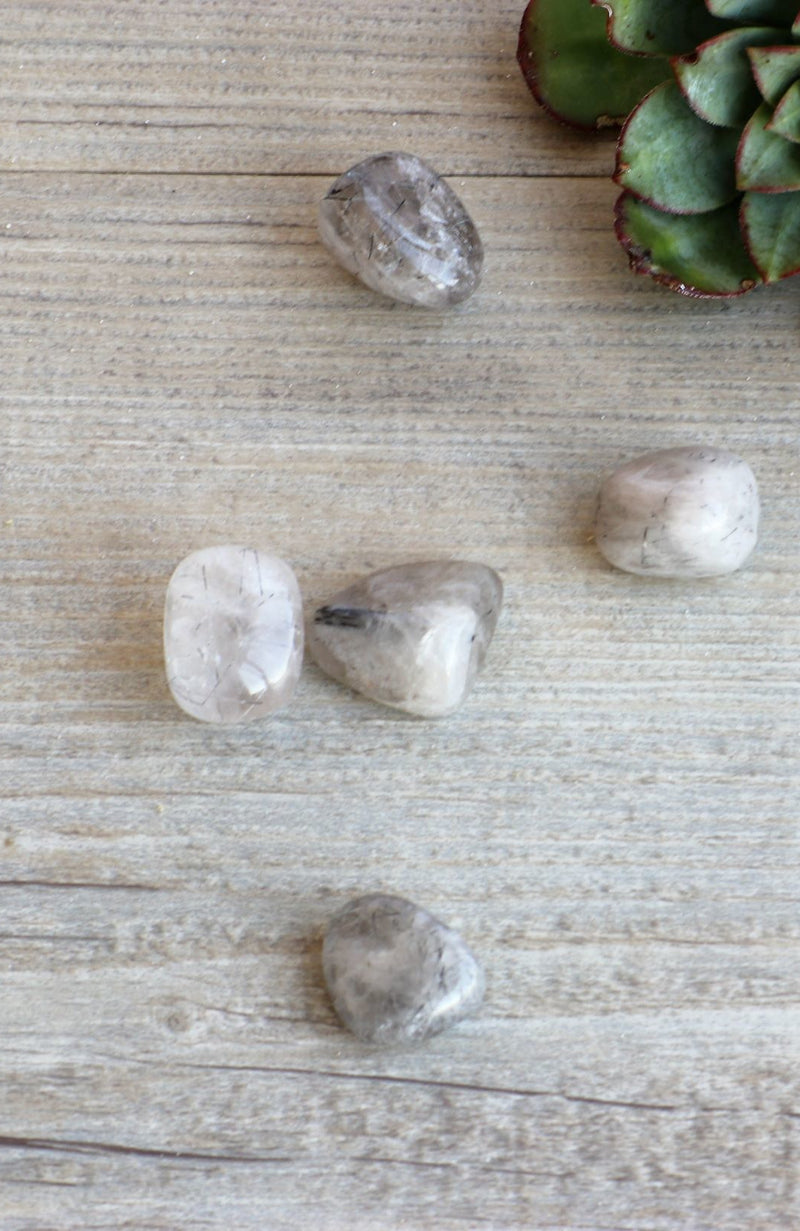 Tourmalinated Quartz Tumbled Stone