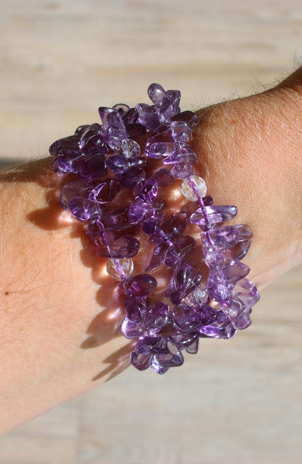 Amethyst (AAA) and Clear Quartz Bracelet