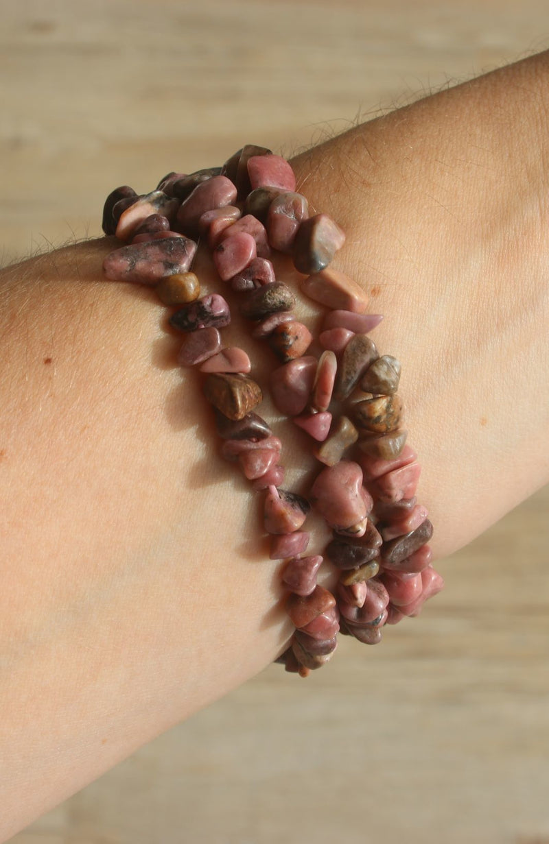 Rhodonite Chip Bracelet AA