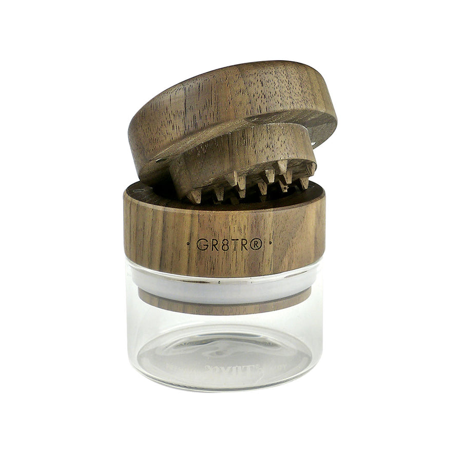 RYOT® Walnut Wood Top GR8TR with Clear Glass Jar Body