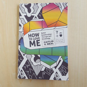 Cover of How to Love Me by School of Life Design.  Cover features a typed out title in black and white.  Title is framed by gradient colored shapes in pink to yellow at the top and blue to green at the bottom, with black and white abstract drawings filling in the rest.