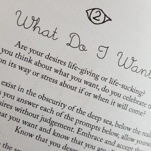 Detail of black and white text from How to Love Me by School of Life Design.  Reads:  What Do I Want?