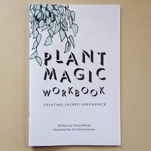 Light pink cover of Plant Magic Workbook features a mint green vine plant in top left corner & the title in black text.