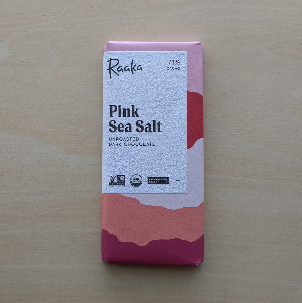 Paper wrapped Pink Sea Salt chocolate bar.