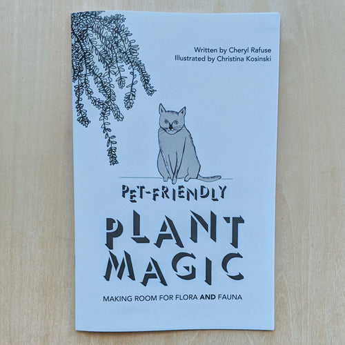 Light blue zine with the title in black and a drawing of a grey cat in the center, and a mint green plant in the top left corner.