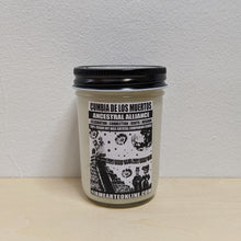 Load image into Gallery viewer, White soy wax candle in glass jar with black and white label.