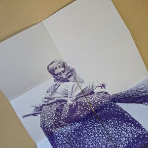 Purple Baba Yagga poster printed on lavender paper.