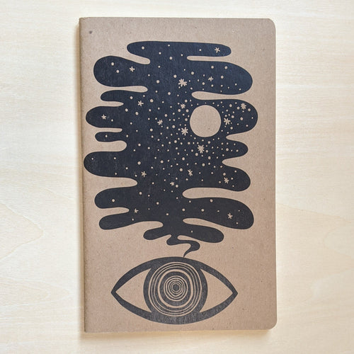 Black night sky rising from an eye on kraft paper.