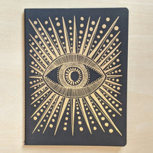 Load image into Gallery viewer, Gold eye with starbursts & dots on black paper.