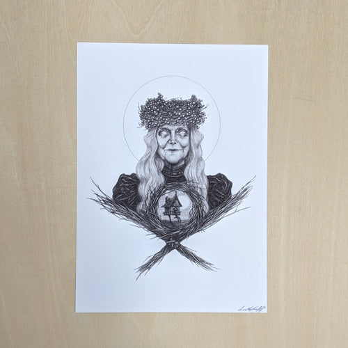 Black ink Baba Yaga illustration on white paper