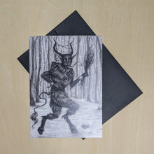 Load image into Gallery viewer, Black ink Krampus illustration on white paper with black envelope