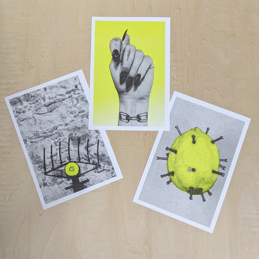 3 neon yellow and grey prints of an evil eye, mano fica, and a lemon hex talisman with nails