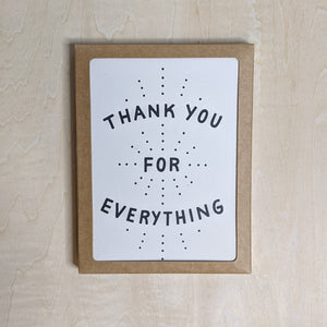 Pale pink card with black dots reads: thank you for everything, shown in a kraft box.